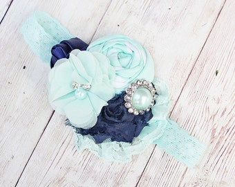 Just Say Wren- navy and mint chiffon and rosette headband with lace