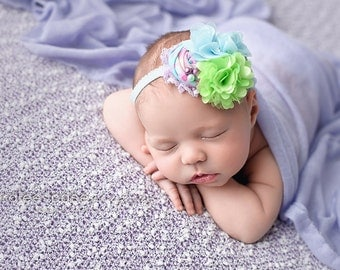 Sublime Lime-  lavender sky blue and lime green  rosette and tulle flower headband