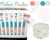 Modern Meadow Crib Bedding, Baby Bedding, Coral, Pink, Aqua, Turquoise, Woodlands, Owl, Fox, Deer, Fawn Modern Baby Girl Woodland Nursery