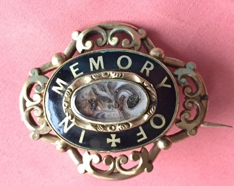 Victorian In Memory Of Mourning Brooch