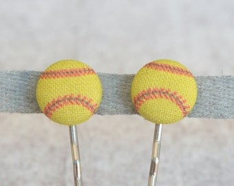 Softball, Fabric Covered Button Bobby Pin Pair
