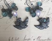 VICTORIAN BIRDS III - Beautiful Pearl, Labradorite and London Blue Quartz Victorian Bird Earrings