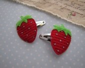 Strawberries . baby snap clips . fabric appliques . toddler hair accessory . red
