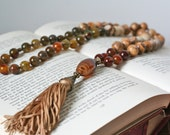 Brown Knotted Tassel Pendant Necklace With Semi Precious Stones