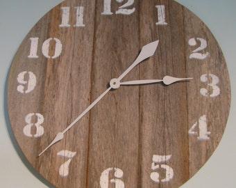 "JUMBO 30"" Wood Clock Beach Decor, Shabby Chic, Coastal Clock, beach clocks"