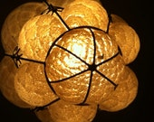 vintage Italian glass blown hanging light fixture yellow glass