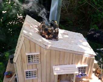 Adult dollhouse cabin prairie house working fire place
