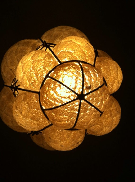 vintage Italian glass blown hanging light fixture yellow glass