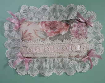 10 x 13 Victorian Ribbons & Lace Pillow Mauve Brocade Pink Roses Fancy Floral Print French Country Cottage Chic Wedding Ring Bearer Accent