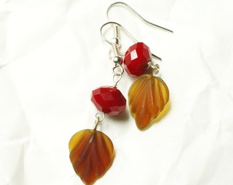 Bright Marsala Red and Amber Brown Leaf and Crystal Earrings, Sanguine Serrate