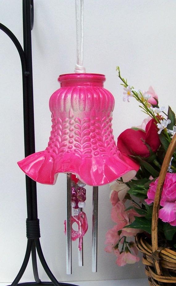 Windchime dark pink light shade windchime glass globe for Repurposed light globes