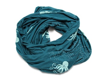 Teal Blue Bamboo Cotton Octopus Print Infinity Scarf