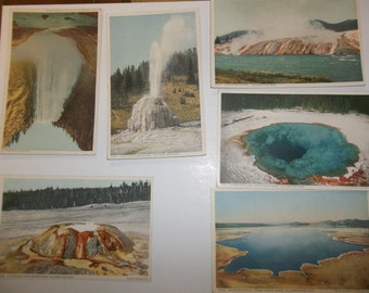 Yellowstone Park Vintage Postcard lot 1940.s Yellowstone postcard, Vintage postcard y101