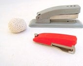 vintage stapler set.gray.red.Grad gift.His 'n Hers.desk.swingline.office supplies.retro.tessiemay vintage