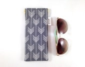 Charcoal Gray Arrow Metal Flex Frame Sunglasses or Glasses Case
