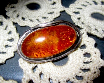 Art Deco Honey Amber & Sterling  Silver Artisan Crafted  Pin