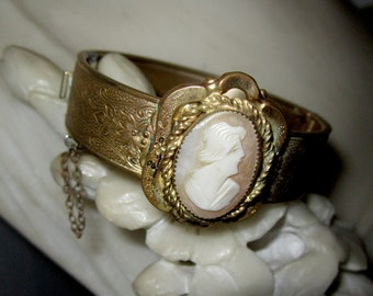 Art Nouveau Engraved Brass Hinged Cameo Bracelet-RESERVED