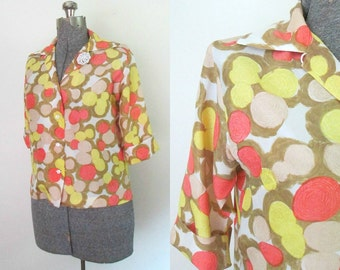 Lady Manhattan 1960s Mod Silk Blouse Button Front Three Quarter Sleeves Yellow Orange