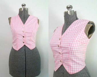 Women's Gingham Fitted Vest Pink White Cotton Check 1960s Glentex