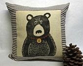Bear Hand Block Printed Pillow - Winter Cabin Pillow - Woodland Rustic Pillow