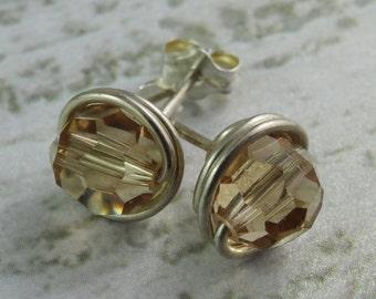 Golden Shadow Swarovski Crystal Stud Earrings