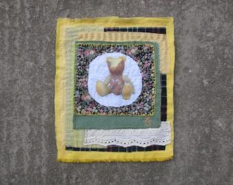 Textile wall art Teddy bear, applique art, Mini Textile Art, Embroidery Art