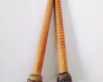 Vintage wood spindles, wooden bobbins, primitive farmhouse decor, rustic wooden spindle, antique  bobbins, textile factory, antique spools