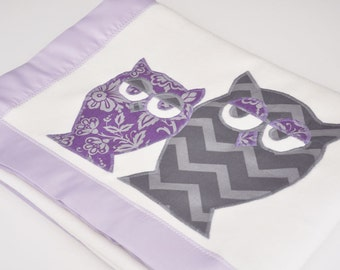 Personalized Organic Baby Blanket with Owls -- Lavender and Gray