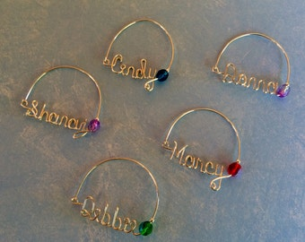 Wire Name Wine Charms, Personalized Wine Charms, Shower Gift, Wedding, Glass Wine Charm, Wedding Favors