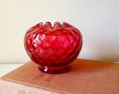 Vintage Fenton Rose Bowl - Cranberry Red Ruby Polka Dot - Collectible Glass Vase