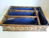 Vintage Flatware Basket, Silverware Holder with Blue Liner, Cutlery Tray, Picnics, Cookouts