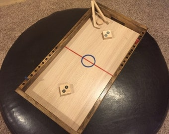 Wooden Vintage Knock Hockey Table - Fathers Dad Yard Classic Game Penny Nickel Board Air Puck Stick Family Children Toy Kids Set Man Cave