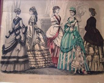 "Victorian Fashion Ladies Original Print by ""Godey"" Circa: 1871  Item # 138 Victorian Collectables"