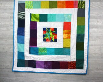 Colorful Star Baby Quilt, handmade, baby shower gift, patchwork, squares, rainbow, batik
