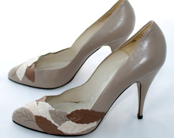 Sergio Zelcer Spanish Leather Stilettos with Three-Tone Leaf Appliques Size 10