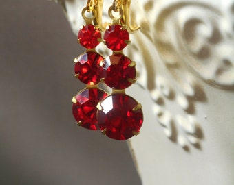 1920s Wedding Jewelry - Art Deco Earrings - Red Drop Earrings - Red Bridesmaid Earrings - Downton Abbey Style Jewelry - Bridesmaid Gift