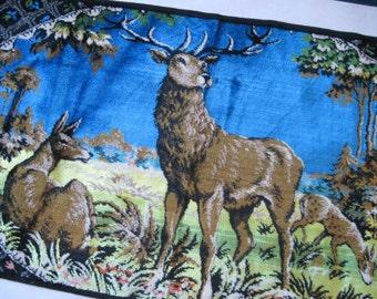 the Italian Buck, vintage mcm velvet tapestry - wall hanging, table runner, rug - woodland critters, deer, log cabin decor, mountain retreat