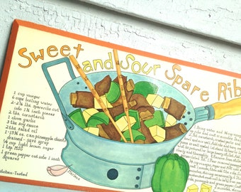 1970s Retro Kitchen Art - SWEET & SOUR Spare RIBS recipe by Marlene - wall hanging, picture, Soovia Janis style print - orange, green, blue