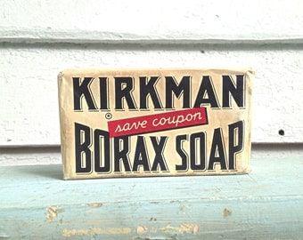 Vintage Kirkman Borax Soap - Antique Soap Bar - Colgate Palmolive Company - Laundry and Household Cleaner