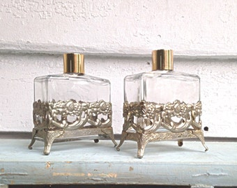 Vintage 60s Pair of Perfume Bottles - Metal Filigree Holders - Refillable scent Bottles