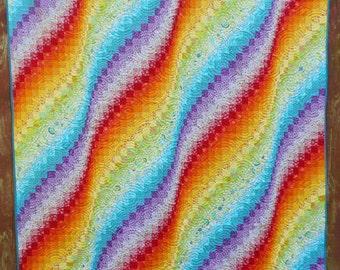 Rainbow Bargello Quilt, Queen size