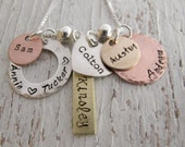 Personalized Family Jewelry, Grandmother Necklace, Hand Stamped, Mixed Metals, 6 names, Grandma, Nana, Mother