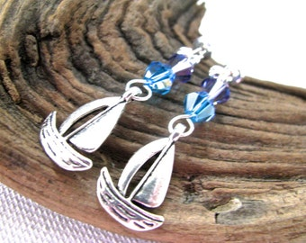 Beach Bling Silver Sailboat with Sea Blue and Aqua Crystal Long Dangly Earrings