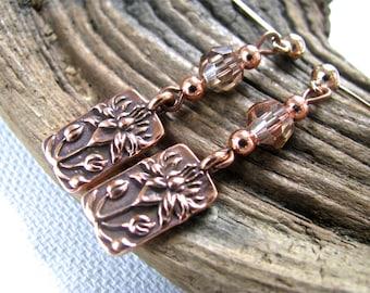 Copper Lotus and Crystal Long Dangly Earrings