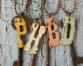 Assemblage Necklaces with Rusty Keys & Vintage Metal Letters