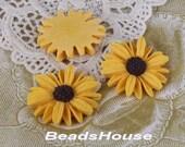 20% OFF-415-00-CA  4pcs Beautiful Sun Flower Cabochons-Yellow