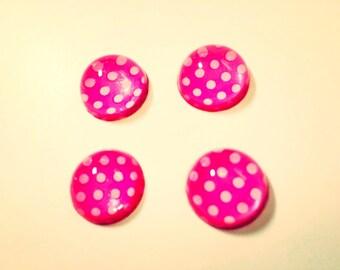 Set of Four Pink Polka Dot Magnets Locker Decoration Locker Magnets