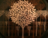 OTAGIRI MODERN TREE Scene Plate Forest Scene Trees  Fall Trees Mid Century Modern Modern Decor Vintage Couroc Style at Modern Logic