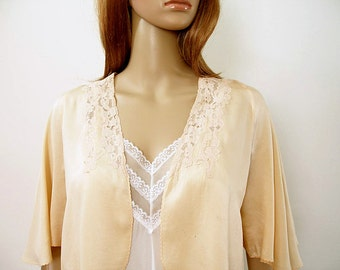 Vintage 1940s Silk Bed Jacket Pale Peach and Lace Lingerie / Small to Medium