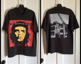 Vintage 1990's Rage Against the Machine 1993 Bombtrack Rock Band T-shirt size XL